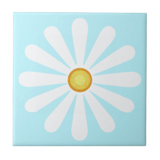 White daisy, yellow centre, on pale cyan tile
