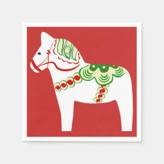 White Dala Horse Paper Napkins