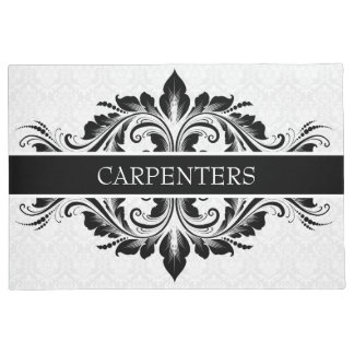 White Damask And Black Floral Lace Doormat