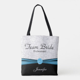 White Damask and Blue Team Bride Tote Bag