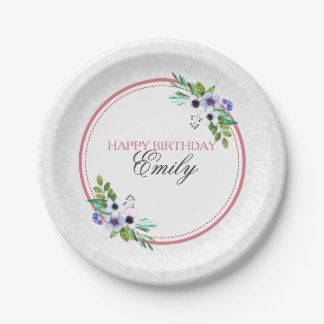 White Damask And Colorful Bouquet- Happy Birthday Paper Plate