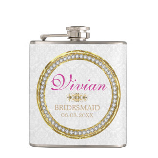 White Damask And Diamonds Hip Flask