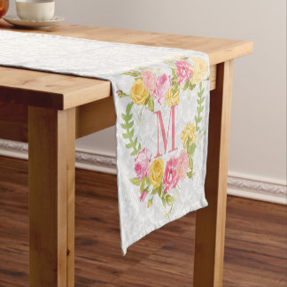 White Damask And Floral Wreath Short Table Runner