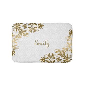 White Damask And Gold Swirls Bath Mat