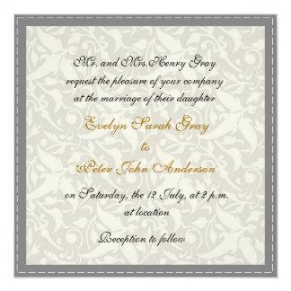 White damask brocade Vintage wedding Card