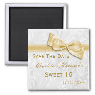 White Damask & Faux Bow Sweet 16 Save The Date Magnet