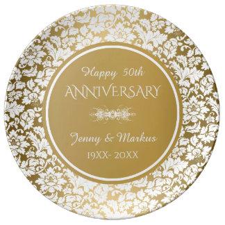 White Damask Gold Circle- 50th Anniversary Plate
