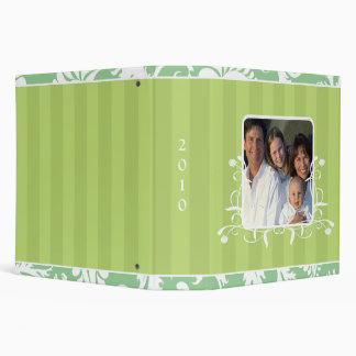 White Damask Lime Striped and Aqua Photo Binder