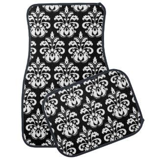 White damask on black auto mat