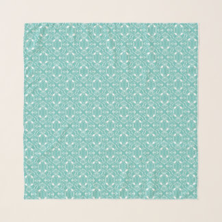 White Damask on Light Teal Scarf