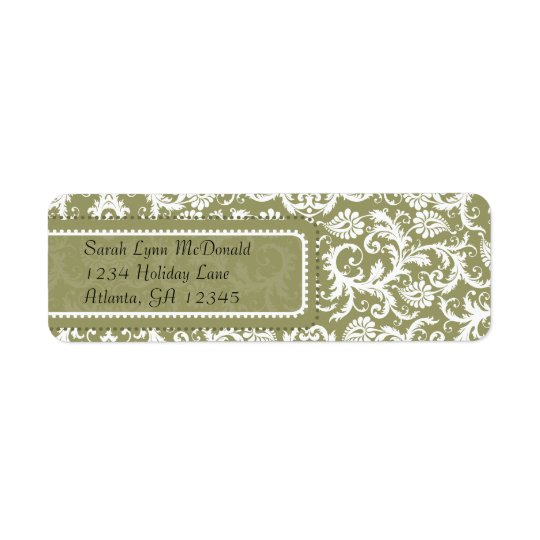 White Damask on Olive Green Grey Return Address