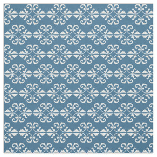 White damask pattern on french country blue back fabric