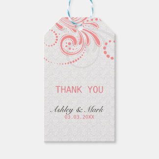 White Damask Pink Swirl Gift Tags