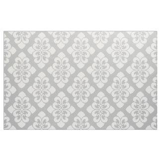 White Damask Scroll on Ash Grey Fabric