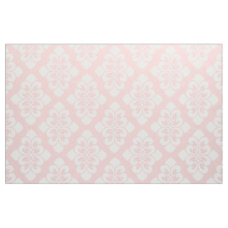 White Damask Scroll on Baby Pink Fabric