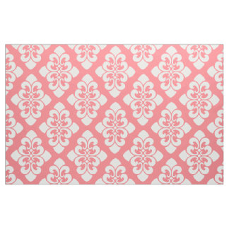 White Damask Scroll on Coral Pink Fabric
