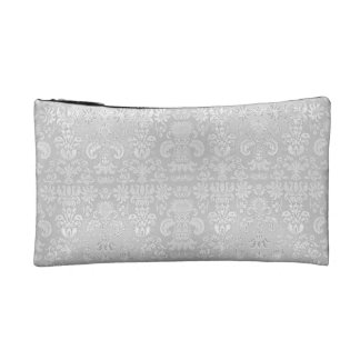 White-Damask-Suede-Wedding-CosmeticTravel-& More Makeup Bag