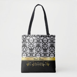 White Damask Tote Bag