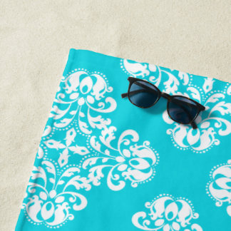 White damask turquoise pattern beach towel