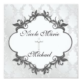 White Damask WEDDING BLACK   TWIRLS   Invitations