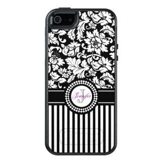 White Damask White And Black Stripes OtterBox iPhone 5/5s/SE Case