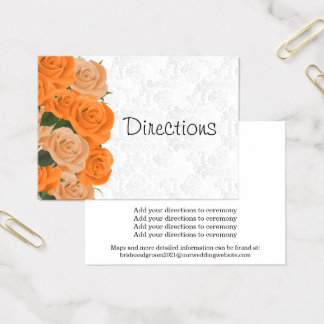 White Damask with Orange Roses - Directions Business Card