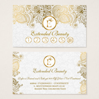 White  Damasks & Gold Paisley Lace Loyalty Card