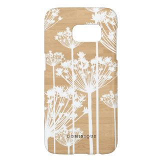 White Dandelions on Faux Wood Personalized Samsung Galaxy S7 Case