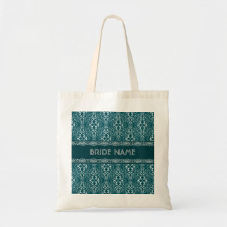 White & Dark Green Damask Pattern-Custom Monogram Tote Bag