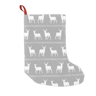 White Deer and Stag pattern on Grey Small Christmas Stocking