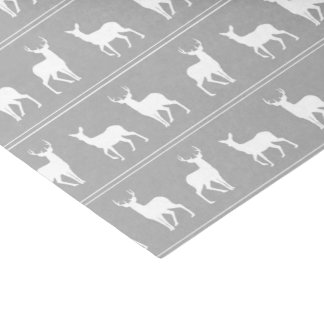 White Deer and Stag pattern on Grey Tissue Paper
