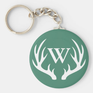 White Deer Antlers & Initial Letter Basic Round Button Keychain