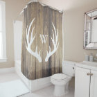 White Deer Antlers Light Barn Wood Monogrammed