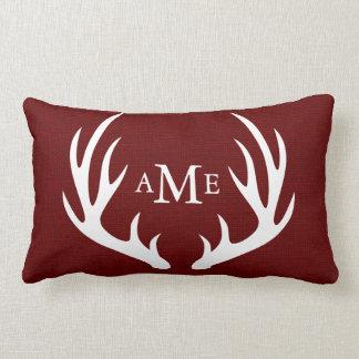 White Deer Antlers Monogram Rustic Red Burlap Lumbar Pillow