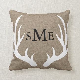 White Deer Antlers Rustic Monogram Pillow