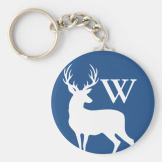 White Deer Buck Silhouette White Initial Letter Basic Round Button Keychain