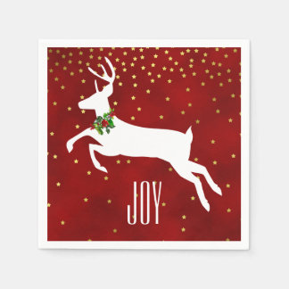 White Deer Christmas Paper Napkins
