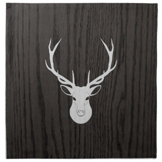White Deer Head On Woodgrain Printed Napkin