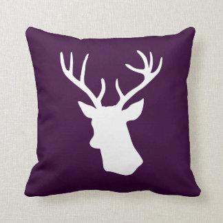 White Deer Head Silhouette - Dark Purple Throw Pillows
