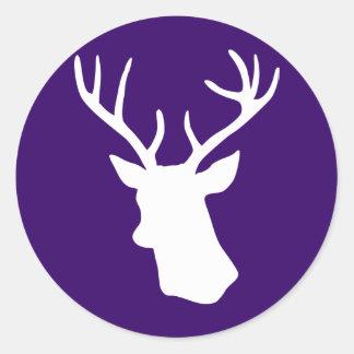 White Deer Head Silhouette - Dark Purple Round Sticker