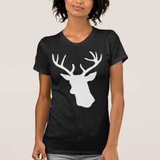 White Deer Head Silhouette - Dark T-shirt