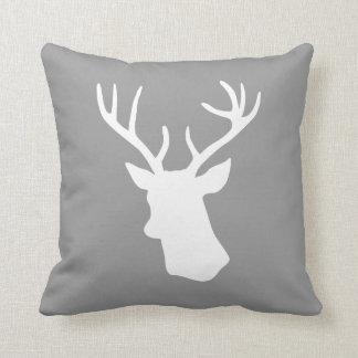 White Deer Head Silhouette - Gray Pillows