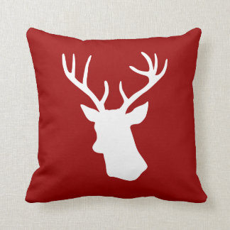 White Deer Head Silhouette on Red Throw Pillow