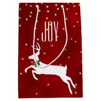 White Deer Joy Christmas Gift Bag