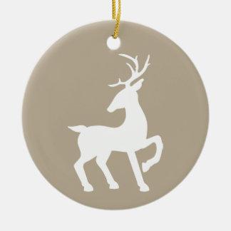 White Deer On Beige & Custom Text On The Back Ceramic Ornament