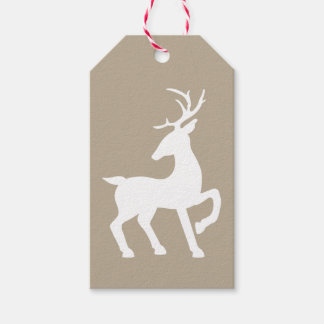 White Deer Silhouette On Beige Colour Gift Tags