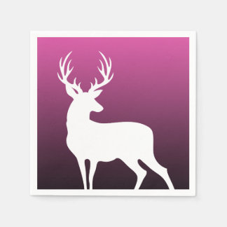 White Deer Silhouette Pink Paper Cocktail Napkins Disposable Napkins