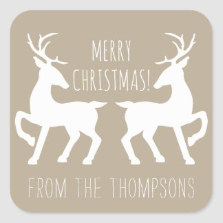 White Deers On Beige & Personalized Name Christmas Square Sticker