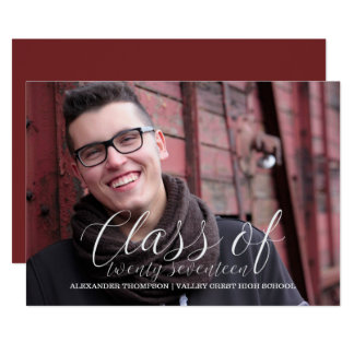 White Delicate Class of 2017 Photo Graduation Card