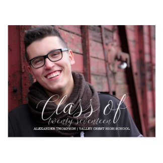 White Delicate Class of 2017 Photo Graduation Postcard